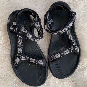 Teva Black Floral Sandals Women's Size 7
